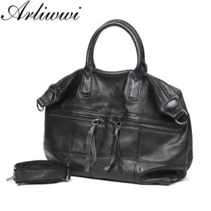 Arliwwi Large Capacity Female 100% Real Leather Tote Handbags Soft Genuine Cow Leather Big Messenger Bags For Women New GS04
