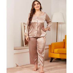 Large Size 4XL Pajamas Suit Women's New Lace Trim V-neck Nightwear Long Sleeve 2PCS Sleep Set Loose Oversized Home Clothing