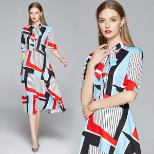 Merchall New Summer Dress Runway Women Bow Neck Short Sleeve Vintage Stripe Print Midi Dress Vestidos Robe Femme clothes 2020