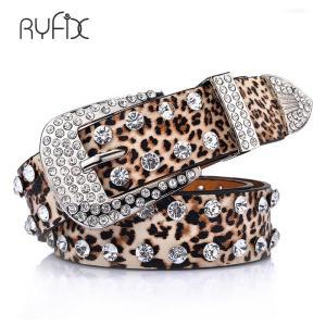 women's belt leopard python pattern PU Full Crystal studded belt rivet strap Western belt for women Jeans BL290