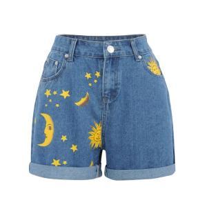 Fashion Moon Sun Print Loose Fit Denim Shorts For Female 2020 Summer New Hemming Blue Boyfriend Style Women's Short Pants
