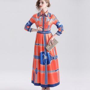 Robe femme New Fashion Runway Maxi Dress Women Long Sleeve Elegant Flower Print Vintage Dresses vestidos de verano ropa mujer