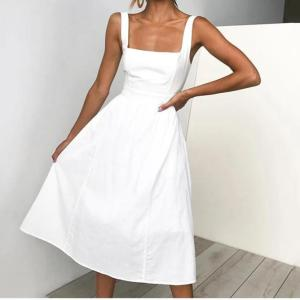 Lossky Casual Solid Dress Women Midi Long Summer Sexy Backless Slip Dresses Ruched Fashion Elegant Party Clothes Leisure 2021