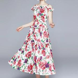 Newest Summer Holiday Peony Floral Printing Beach Dress Women Off Shoulder Ruffles Flower Sundress Spaghetti Strap Long Dress