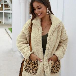 Women Casual Faux Fur Coat Female Lapel Zipper Leopard Print Pocket Plush Coat Loose Teddy Jackets Lady Keep Warm Winter Coats