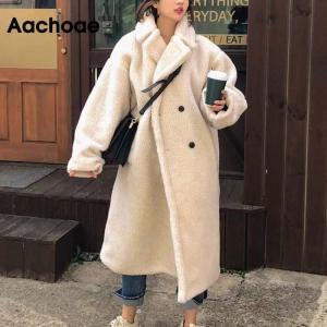 Aachoae Winter 2020 Women Solid Lamb Fur Coat Long Sleeve Casual Fleece Jacket Turn Down Collar Long Teddy Coat Outerwear