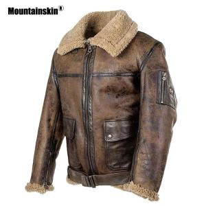 Mountainskin New Men's Motorcycle PU Coat 2020 Winter Mens Leather Jacket Fashion Fur Collar Outerwear Male Brand Clothing SA880