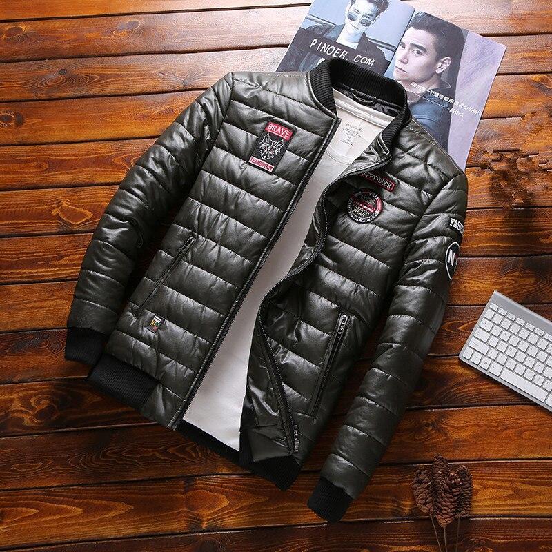 DIMUSI Winter Men Jacket Fashion Men Thermal Parkas Coats Man Thick Warm Windbreaker PU Leather Patchwork Jackets Clothing 8XL