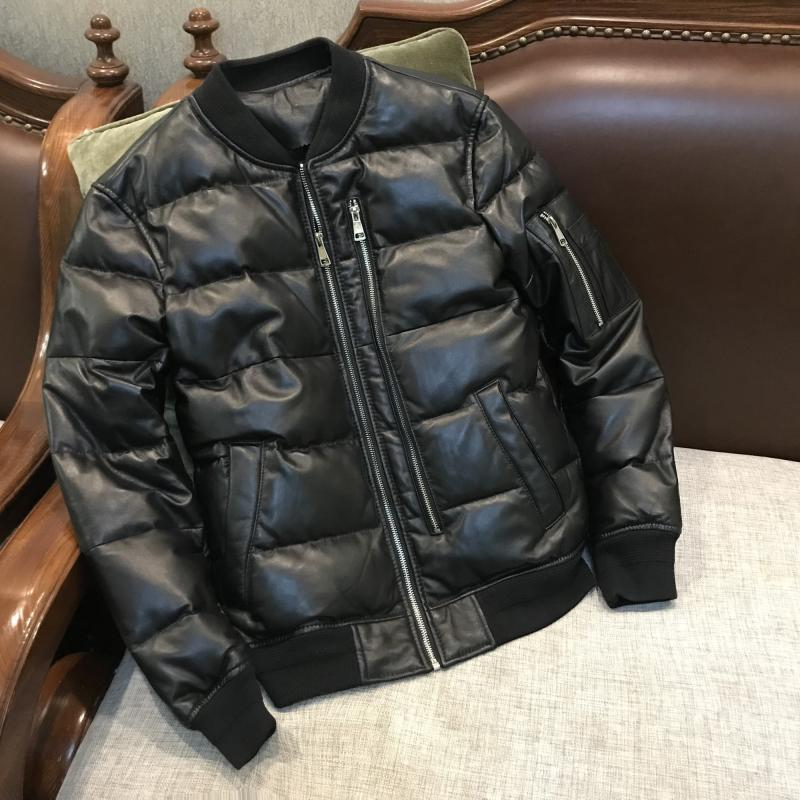 YR!Free shipping.sales classic casual style genuine leather jacket.80% white duck down sheepskin coat.winter warm leather jacket