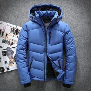 High quality men down jacket casual winter men's coat hoodies goose feather warm short winter orange snow parka