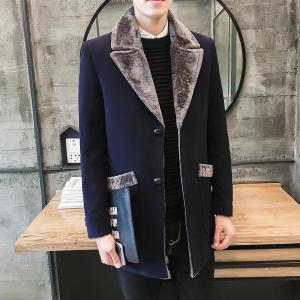 2019 Winter New Casual Windbreaker Men's Jacket Korean Long Section Large Fur Collar Jacket Men's Business Casual Warm Wool Coat