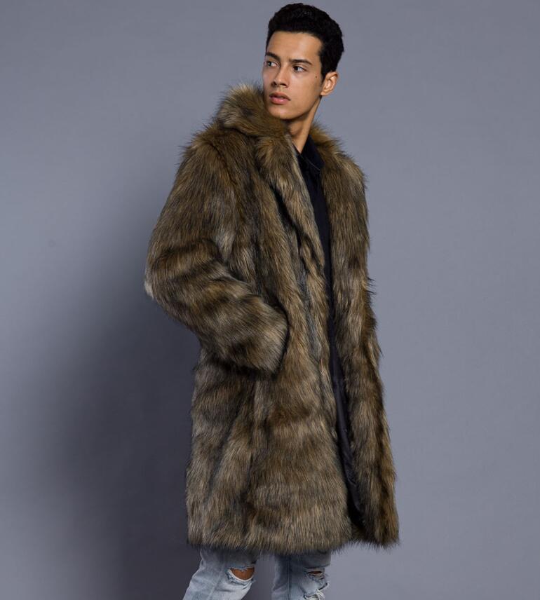 Autumn long faux mink leather jacket mens winter thicken warm fur leather coat men slim jackets jaqueta de couro B28
