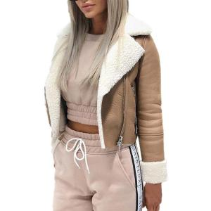 Women Lapel Suede Leather Buckle Cool Pilot Jacket Faux Lamb Wool Motorcycle Jackets cazadora mujer
