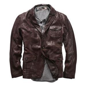 AL0708 Read Description! Asian size goat leather jacket genuine goat leather rider jacket