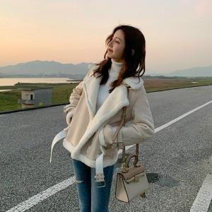 Winter Suede Jackets Women Lambs Wool Casual Jackets Thick Warm Faux PU Suede Jacket Female Oversized Motorcycle Coat Female