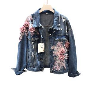 2019 Autumn Flower Beading Women Jackets Coat Fashion Pearl Women Denim Jacket  Tops For Women Blue Coat Chaqueta Mujer