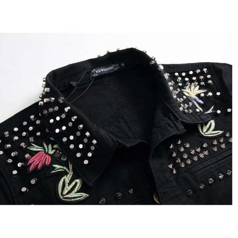NAGRI  Men's fashion rivet flower bees embroidery black jacket Long sleeve slim denim coat Short design embroidered outerwear