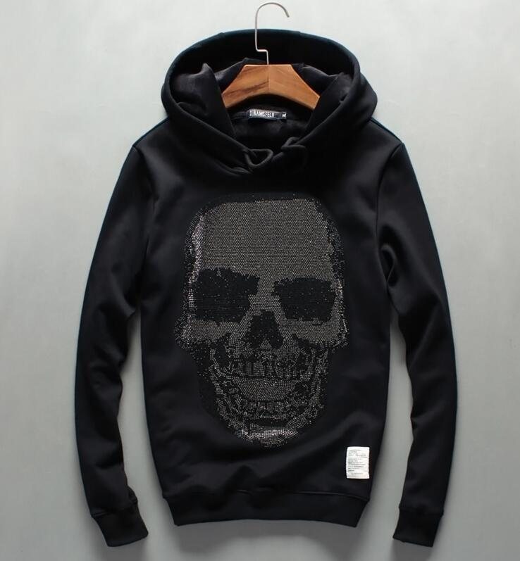 high quality Hombre Hip Hop Mens Diamonds Hooded Slim Fit Men Hoody outerwear