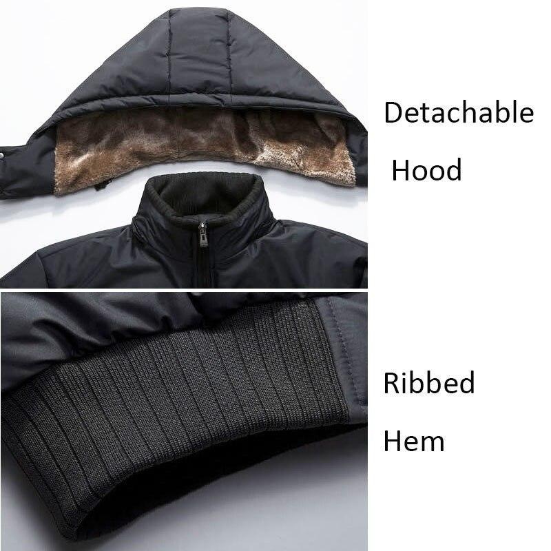 Winter Men Jacket Parka Warm Fleece Casual Hooded Coat Mens Cotton Slim Thick Down Jacket Male Zipper Outwears Casacos Masculino