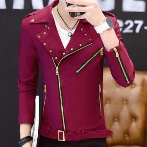 2019 spring men's motorcycle jacket men's lapel trend handsome jacket autumn and winter men's personality short jacket