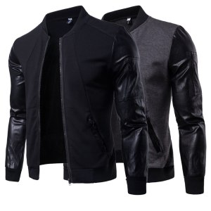 New Mens Veste Homme moto Bomber Fit leather sleeves Zipper brand Jacket Casual Trend dropshipping Fashion Men's Jacket plus 3XL