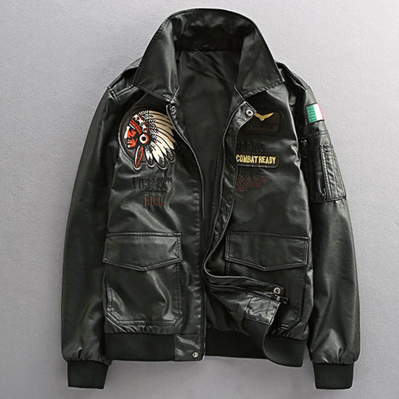 Air Force Pilot Mens Leather Jackets XXXL Plus Indian Embroidery Motorcycle Leather Jacket Coats US Style Overcoats Winter A259