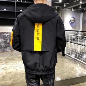 2019 Autumn New Japanese Harajuku Color Patchwork Printed Fashion Mens Hooded Jackets Casual Windbreaker Outerwear Streetwear