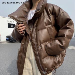 ZURICHOUSE PU Leather Parka Women Thick Warm Faux Leather Puffer Coat 2020 Harajuku Style Oversized Winter Jacket Woman