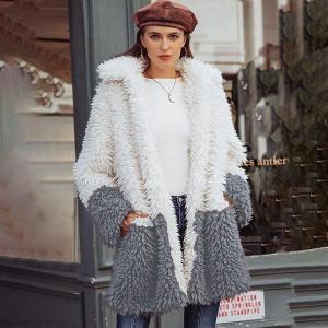 Street Style Faux Fur Teddy Jacket Women Pockets Long Sleeve Cardigans Tops Shaggy Jacket Long Fur Coat TA20495
