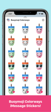 Buoymoji Colorways stickers iPhone Example