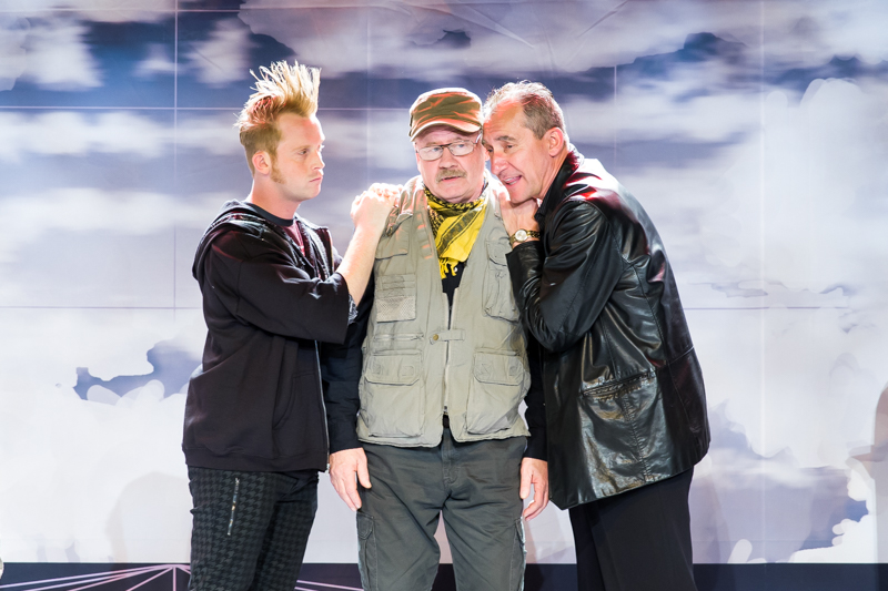 Bob Sheire, Matt Dougherty, and Stas Wronka in Scena Theatre's production of 'Antigone Now.'