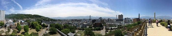 甲府城 天守台からのパノラマ