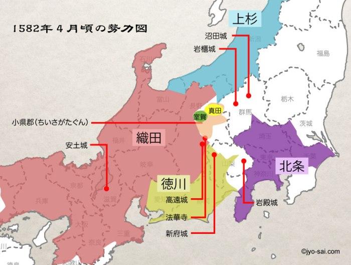 真田丸-1582年頃勢力図4月頃