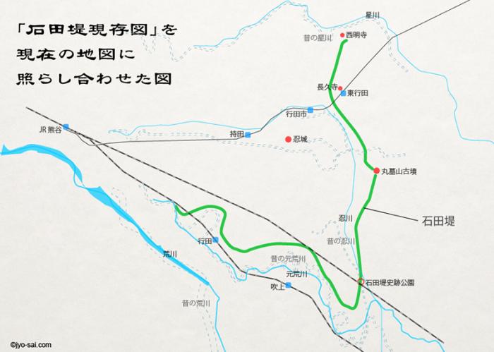 忍城石田堤地図