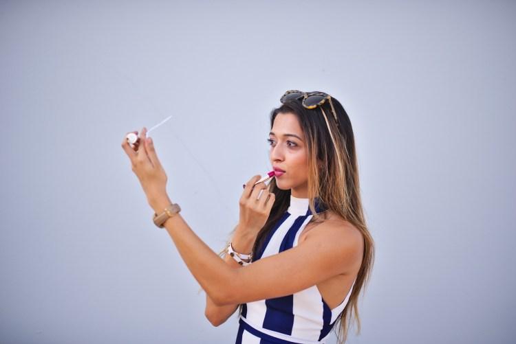 cuppajyo_fashion_lifestyle_travel_blogger_sanfrancisco_california_clarins_fameandpartners_nighttime_nautical_stripes_backless_maxidress_weddingguestfashion_1