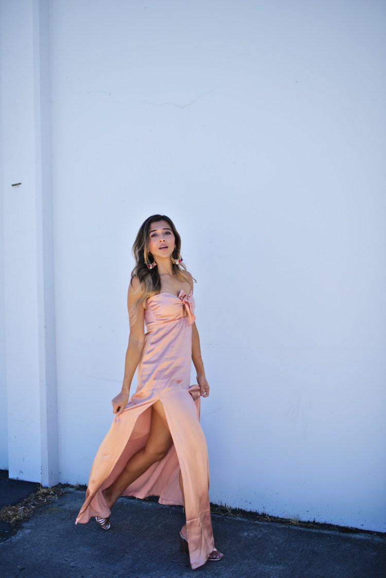 Rose gold silk maxi jyo shankar for Urban outfitters wedding dresses