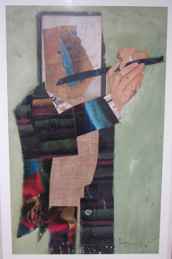 André ELBAZ, Le joueur de flûte, 1963, collage et peinture, Ministère de la Culture