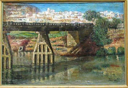 Mekki MEGARA, Pont Mhanesch, 1951, Huile sur toile marouflée sur bois, Collection particulière