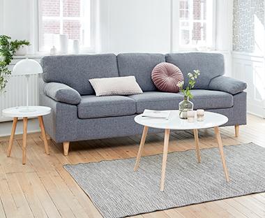 sofaer kenton fabric 2 piece sectional sofa ny stort udvalg af laekre til gode priser jysk 3 personers i lysegra lys stue med rundt sofabord