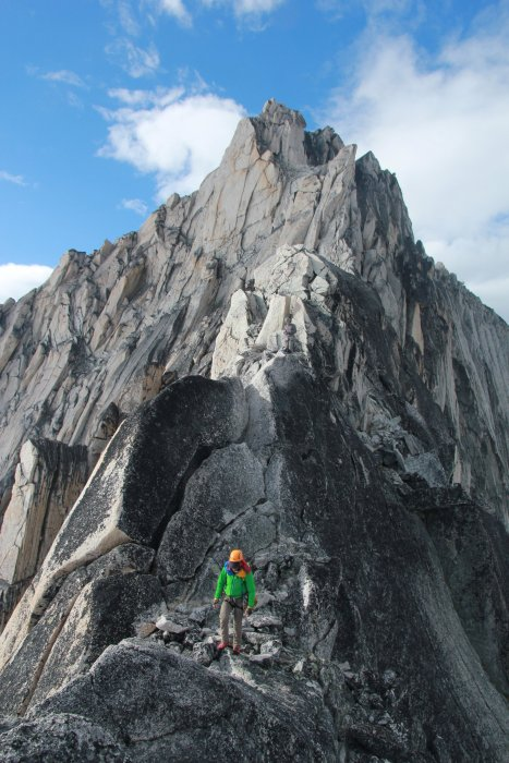 Descending the Kain Route on Bugaboo Spire.