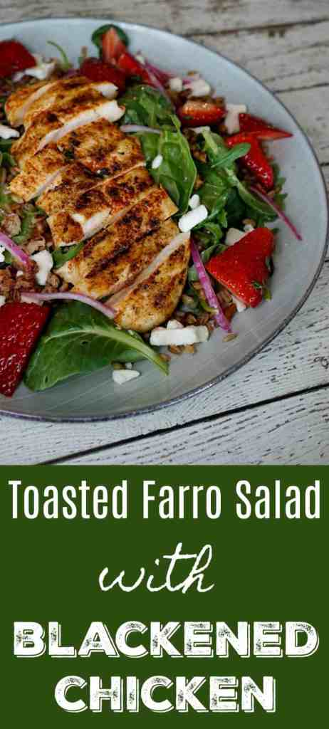 This Toasted Farro Salad with Blackened Chicken will totally change your view on salads. It's quick and easy to make and SO filling! It even makes delicious leftovers.