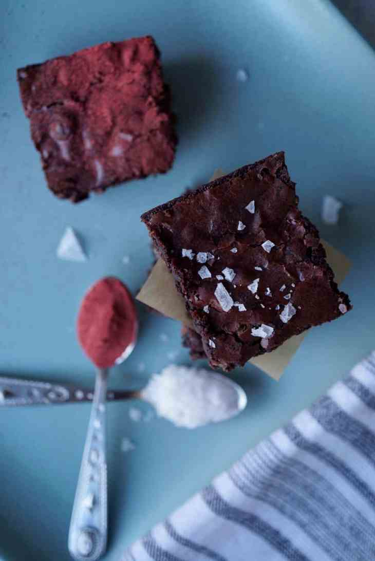 Brownies with beetroot powder and flaky salt