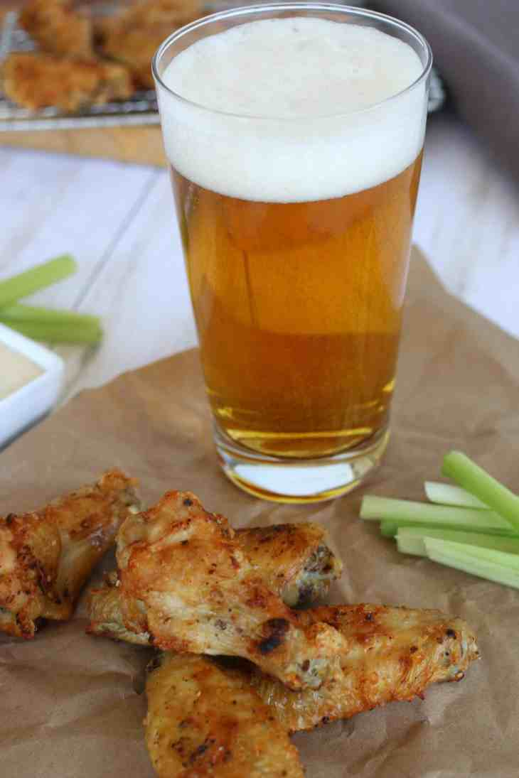 Chicken wings with beer.