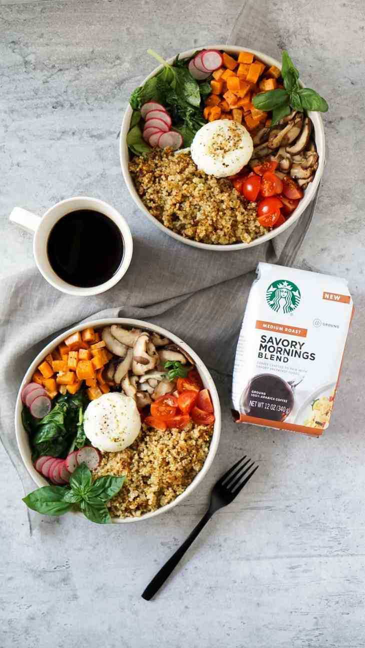 two quinoa bowls with starbucks coffee and a black fork