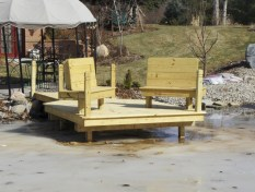 Year round dock construction with bench seating
