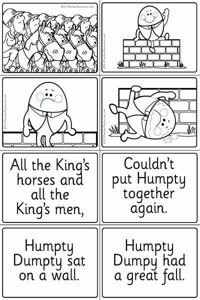 Humpty Dumpty Words Pictures Page 2