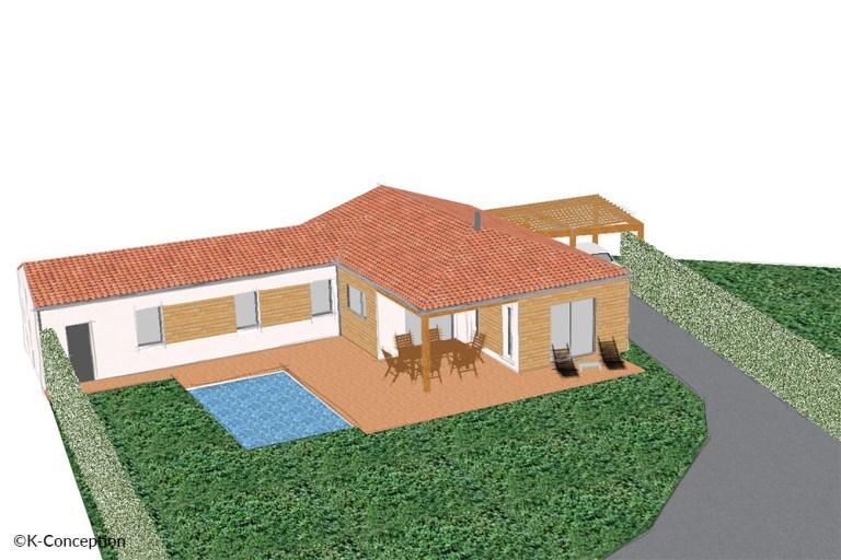 Dessin 3D maison 3 chambres en L avec terrasse et piscine