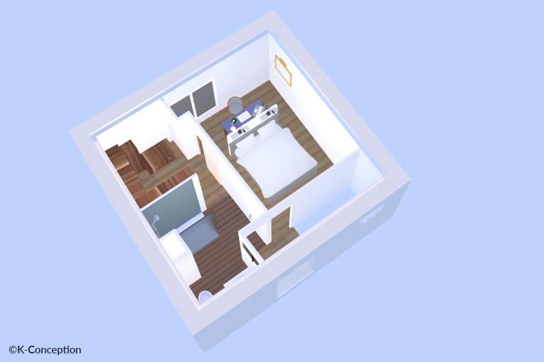 Vue 3D projet d'aménagement intérieur, petit appartement.