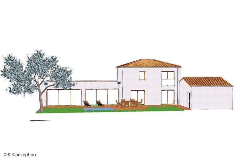 Croquis en couleur d'une maison contemporaine à étage. Façade arrière avec terrasse.