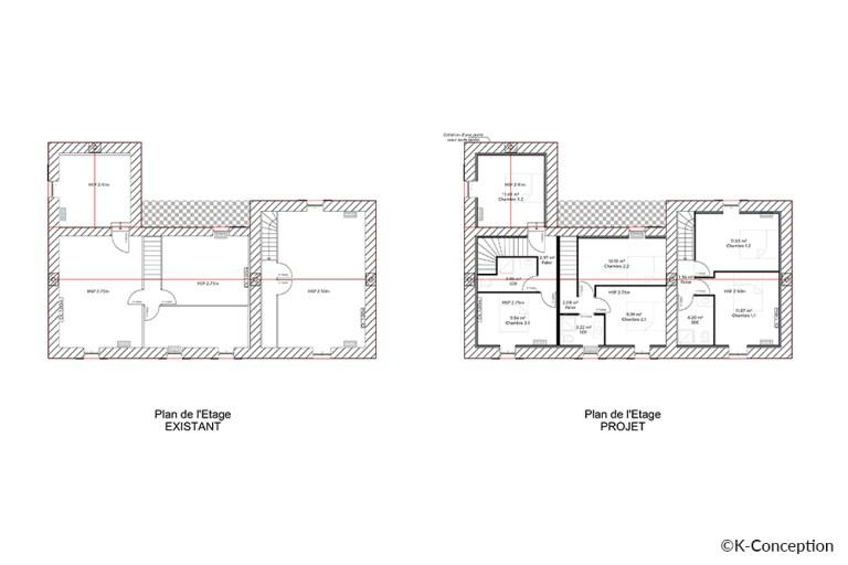 Plan avant-après d'un réaménagement. Transformation d'une boulangerie en logements. Plan de l'étage.